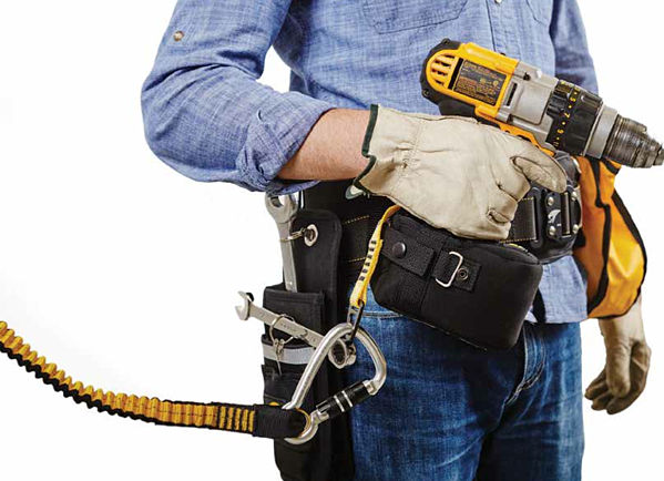 Fall Protection for tools - One step tool attachments